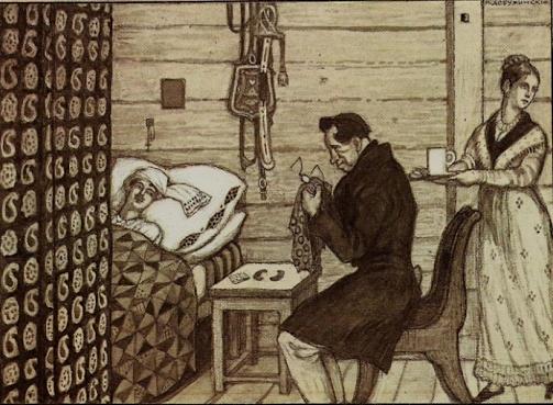 """Mstislav Dobuzhinsky, illustration to Pushkin's """"The Postmaster,"""" 1905"""
